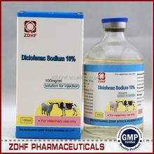 Ganado fowl antipirético synthetic analgésicos 10% diclofenac sodio inyección