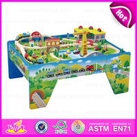 2015 High end Kids wooden toy train set,Educational toy thomas railway toy train,100/S Wooden Train Set With Table W04D005