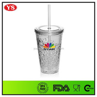 16oz freezer double wall plastic cup with gel inside