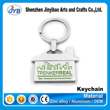 hot sale real estate promotional gift keyring house shaped metal key chain
