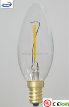 dimmable C35 1W LED FILAMENT candle lights E12S 110V US
