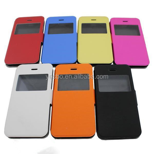 leather case for iphone6,flip leather case for iphone6 with window stand and megnet wallet