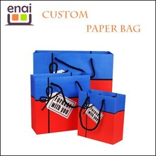 Foldable handmade craft corrugated paper shopping bag with handles