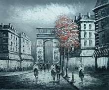Paris streey Building Style abstract painting lacquer painting with red tree 17740