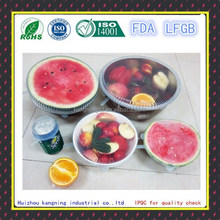 Food grade durable universal silicone lid,flexible silicone lid,silicone stretch lids