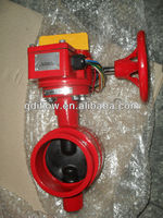 Grooved butterfly valves gear actuated with tamper switch