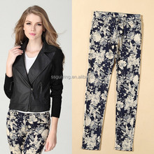 Women Fashion Printing Camouflage Color Sanding Stretch Ankle Full Length Leggings Pants