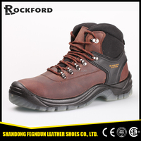 Comfortable crazy horse leather safety shoes with PU outsole FD4118