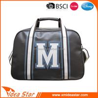 Customized logo wholesale travel used black pu leather shoulder bag totes