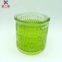350ml crylinder round stripe embossed refillable glass candle jar