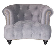 European style single seater linen fabric oak wood sofa chair/hotel lobby button tufted children recliner wing back sofa chair
