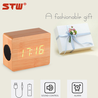 Factory price LED time display bluetooth techwood speakers