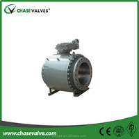 Worm gear operated type 3 piece cast trunnion ball valve from China manufacturers supplying