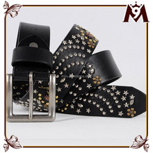 The European style personalized star rivets ladies genuine leather belt made in japan
