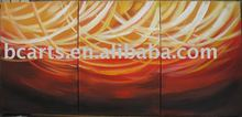 3 panel modern Bright and colorful lines consisting abstract group canvas oil painting for hotel wall art decortion