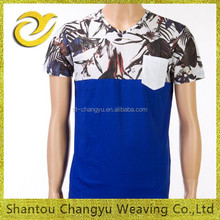 Men's fasion printed two panels v-neck super cotton t-shirt