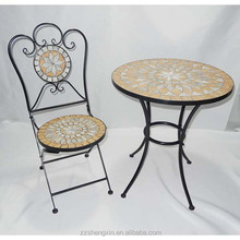 Granite Top Garden Metal Table and Folding Backrest Chair
