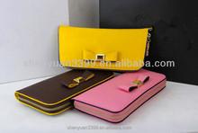 Famous Brand Women Wallet Cute Bowknot PU Leather Wallets Female Hasp Zipper Long Clutch Lady Change Purse Card Holders