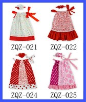 2015 fashion baby valentines day outfits with headband cotton straps girl pillowcase dress