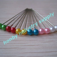 Decorative 55mm size assorted colours steel round pearl head pins