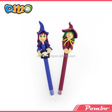 Whoolesale ! Witch shape colorful polymer clay pen educational pen E-5192