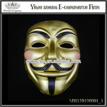 2015 new Anonymous Halloween PVC V For Vendetta Mask New year's Day/Theme Party/ Eco-friendly Party face Masks Ribbon/Cryst