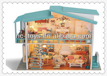 DIY miniature wooden doll house, Wooden Villa with LED light, Wooden Doll House