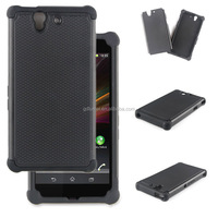 Rugged hybrid armor dual layer flexible shockproof TPU silicone bumper back cover and hard PC frame case for Sony xperia Z1