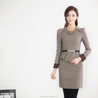Fashion belt slim long sleeve ladies long skirt suits