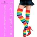 opaco muslo rayas medias de alta del arco iris sexy medias para mujer