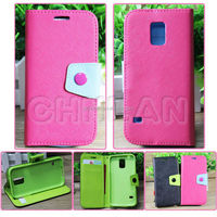 2014 Fashionable Dual Color With Button Stand Flip Wallet Leather Phone Case for Samsung S5
