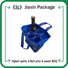 New arrival 6 bottle divided non woven wine tote packaging bag with logo