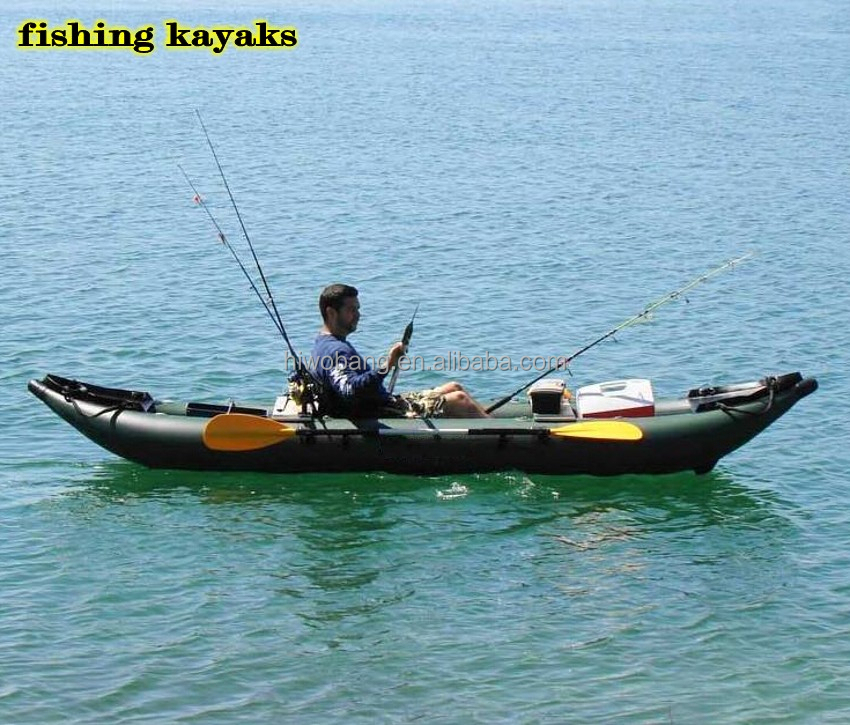 Green color pvc double fishing kayaks for sale buy for Fishing kayaks for sale cheap