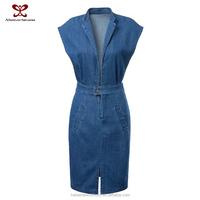 2015 Dress for women fashion causal jeans dresses suit collar thin waist spread out under the fork wear street sexy clothes