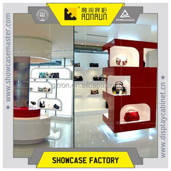 Luxury fashion leather bag store display case with cashier desk and rest chair