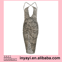 2015 summer ebay Amazon hotsale bodycon sexy Deep V High open leopard print Back crossing Backless Halter Cocktail Club Dress