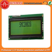Two lines 20x2 character lcd display with Yellow green backlight