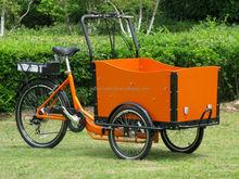 Electric Danish bike with en 15194 / 2015 hot sale family cargo trike/ troporteur/ bakfiets for kids