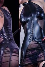 Hot Sexy Women Leather Bondage Dress Transparent Mesh Latex Catsuit Front Zipper with Garter Lingerie Leotard Exotic Clubwear