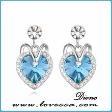 big heart shaped earrings,ladies earrings designs pictures with austrian crystal stone