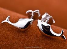 New Fashion Women's 925 Sterling Silver Fish Shape Ear Stud Earrings Gift
