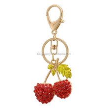 Fashion Alloy Crystal Fruit Keychains Lovely Cherry Keyrings for Women Gifts