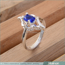 925 carimbado barato azul moda anéis anéis baratos simples anéis moda atacado