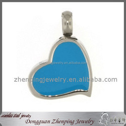 Hot Sell Ash Jewelry Always In My Heart Stainless Steel Cremation Jewelry Pet Cremation Lover Pendant With Blue Enamel