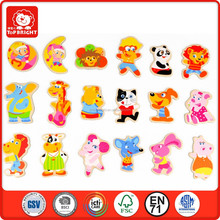 18 pcs kids environment safety animal image silk screen printing wood magnets toys puzzles wooden educational fridge magnets