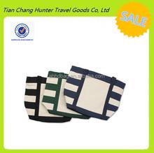 Dual shoulder straps foldable reusable shopping striped cotton canvas tote bag