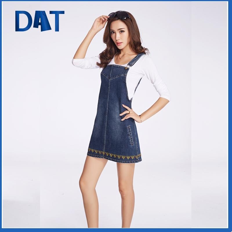 fashionable bodycon embroiedered denim suspender skirt