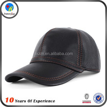 black leather men baseball cap plain