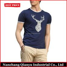Blue and White 95 Cotton 5 Spandex T Shirts China Factory Custom T-shirt Printing
