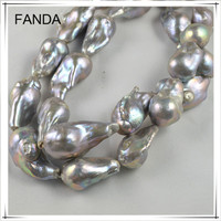 Natural pearl price freshwater big baroque pearl strands wholesale